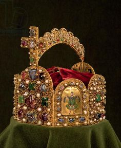 The Imperial Crown made for the coronation of Otto I, showing one of four enamel plaques representing King Solomon as the symbol of Wisdon, West German, late 10th century with later additions