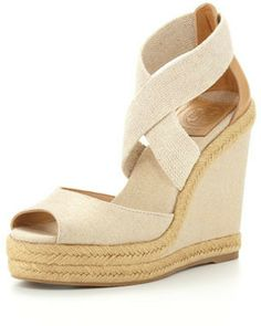 29b658f38c Tory Burch Kate Linen Espadrille Wedge, Natural Gold on shopstyle.com  Bergdorf Goodman,