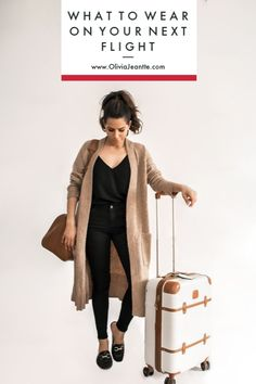 What to Wear on Your Next Flight - Olivia Jeanette - Black top+black skinny jeans+black loafers+camel long cardigan+cognac travel bag+white and cognac suit-case. Spring Travel Outfit 2018 Source by lenaklinger - Black Cardigan Outfit, Black Loafers Outfit, Long Cardigan Outfits, Loafers Outfit Womens, Loafers Outfit Summer, Black Booties, Skinny Jeans Negros, Airplane Outfits, Gilet Long