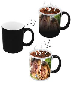 Black Magic Mug- See the magic of your picture/logo/design appearing after the effect of hot beverage.Customised with images / logo / oneliners / messages