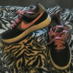 Girls Youth Nike Air force ones Like new only worn once Black, Pink, and gray nikes Nike Shoes
