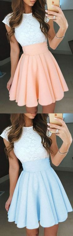 Pleated Homecoming Dresses, Pearl Pink A-line/Princess Prom Dresses, Short Pearl Pink Prom Dresses, A-Line Jewel Cap Sleeves Pearl Pink Short Chiffon Homecoming/Prom Dress with White Lace Mini Prom Dresses, Princess Prom Dresses, Prom Dresses With Sleeves, Dance Dresses, Pretty Dresses, Prom Dresses 2018, Beautiful Dresses, Prom Gowns, Pink Dresses