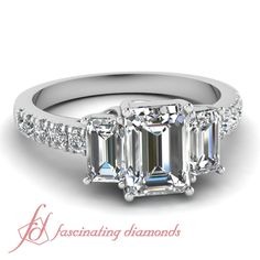 Elegant Trellis 1.80 Ct Emerald Cut Diamond Stunning Engagement Ring Pave Set #FascinatingDiamonds #SolitairewithAccents