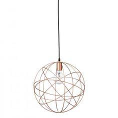 Bloomingville copper ball pendant light - Live Like The Boy Copper Lighting, Nordic Style, Light Fittings, Deco, Scandinavian Design, Lamp Light, Floor Lamp, Vintage Items, Bulb