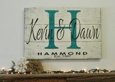 Be the hit of the party with this piece!  This is a wood pallet sign that measures either 24 x 16 or 30 x 22.  The background is painted Ivory.  Initial is Tuscan Teal.  Names and date are Black.  This piece is handpainted and sanded for a distressed/shabby chic/vintage look.  It is then sealed wit