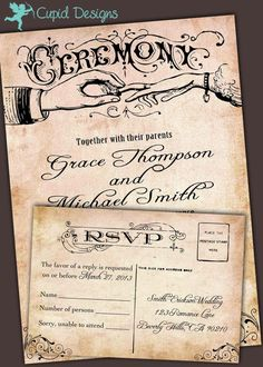 New to CupidDesigns on Etsy: Romatic vintage Wedding invitations. Barn wedding invitations. Vintage wedding. Outdoor wedding. Elegant. (4.75 USD)