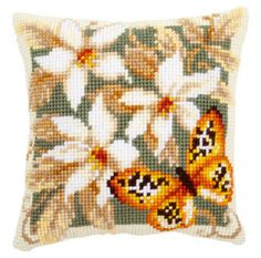 VERVACO-Quickpoint-Cross-Stitch-PILLOW-Cushion-Kit-ORANGE-BUTTERFLY