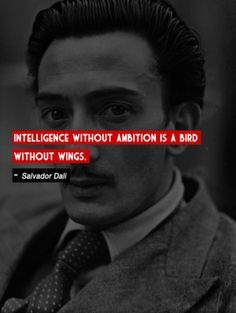"""""""Intelligence without ambition is a bird without wings."""" -Salvador Dali"""