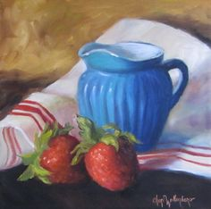 Oil Painting Original 12x12 Canvas Strawberries by ChatterBoxArt, $150.00