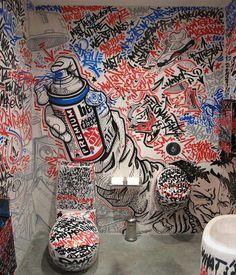 graffitti art bathroom interior by allcity