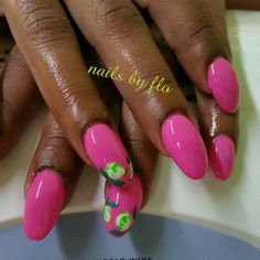 Pink uv gel acrylic nails