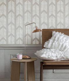 Wall Stencil Wallpaper Reusable Herringbone Scale by OMGstencils