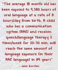 Quote by Jane Korsten about the importance of exposing an AAC user to their language