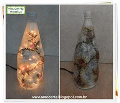 Luminária de garrafa de vidro http://amocarte.blogspot.com.br/