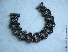 """Браслет """"Летучая мышь"""" - чёрный,стальной,сталь,кольчужное плетение,кольчужный браслет"""