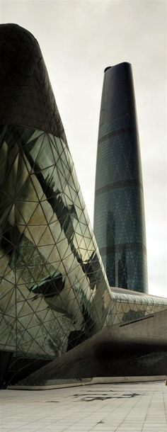 Guangzhou Opera House - Zaha Hadid and Guangzhou International Rinance Centre - Wilkinson Eyre in China.