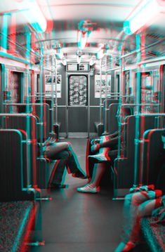 """Conversation on U2"" (U-Bahnlinie 2 Berlin). Frozen in Time - Berlin 3D (Stereoscopic 3D image / Anaglyph). Photography by Lars Brandt Stisen"