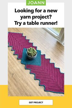 Bring cotton to the table! A custom table runner is the perfect way to tie your kitchen and dining room decor together with crochet. Get Directions, Step By Step Instructions, Yarn Projects, Crochet Projects, Crochet Table Runner, Joanns Fabric And Crafts, Craft Stores, Table Runners, A Table