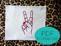 Cross Stitch Pattern - Peace Sign and Nail Polish