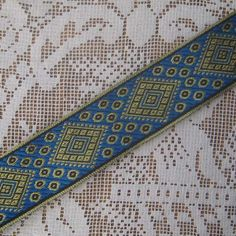 2 Yards Metallic Trim Jacquard Ribbon 1 3/8 Inches Wide Blue
