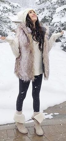 #Winter #Outfits / Faux Fur Vest + Cableknit Sweater