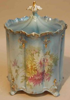 R.S. PRUSSIA BISCUIT JAR  ////   This I love.  The pastel shades are wonderful.