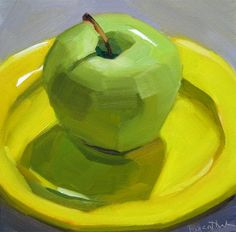 """Green Apple on Yellow Plate"" original fine art by Robin Rosenthal"
