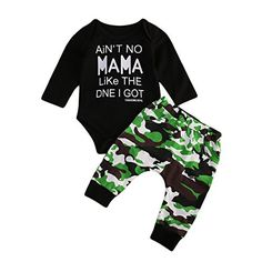 """""""Aint no momma like the 1 I got"""" Newborn Baby Clothes Black Romper Bodysuit And Camouflage Pants Outfit Set Camo Romper Set) Newborn Boy Clothes, Baby Outfits Newborn, Baby Boy Newborn, Baby Boy Outfits, Kids Outfits, Baby Boys, Children Clothes, Camouflage Pants, Camo Pants"""
