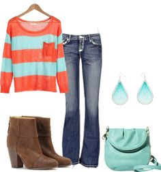 """orange and blue"" by tessuz on Polyvore"