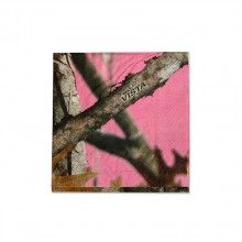 One 16 count package of Pink Camo Beverage Napkins $2.49