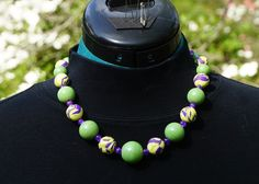 """""""Waiting for Spring"""" necklace, Variation 1.  Polymer clay and glass beads."""