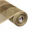 """Bold Stripe Poly Burlap Color: Brown, Beige Size: 21"""" in width; 10 yards in length Material: Synthetic Poly"""