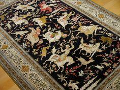 Qum Silk Hunting Rug 5.6 x 3.5 ft / 155 x 107 cm Persian