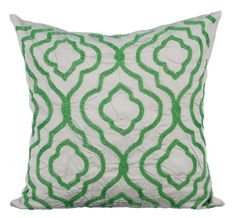 Creative Green - 16 x 16 inches Embroidered Grey Silk pillow.