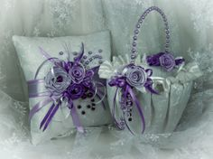 Flower Girl Basket and Ring Bearer Pillow Set in by SarayaWedding, $150.00