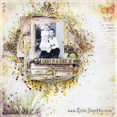 created by Kasia Bogatko: Little Things - scrapbooking layout for I-Kropka - with video tutorial