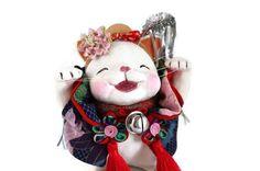 Japanese fortune cat ,lucky cat,happy cat,vintage kimono fabric,kanzashi,MANEKINEKO,Art doll