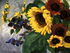 Large Sunflower and Clematis  Emil Nolde- 1943