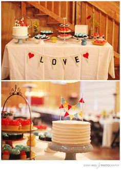 THIS. This is beautiful! Simple and fun :) Maybe have the bunting banners say what is on the tables like desserts, dinner, etc.