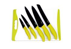 Tabla de cortar + 5 cuchillos revestidos de cerámica: Panero, Cocinero, Cocina, Uso general y Pelador. Color verde y negro