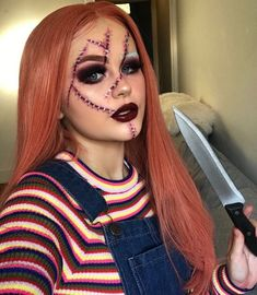 Fantasias Halloween - - Festival make up - Halloween Ideas Chucky Halloween, Cute Halloween Makeup, Halloween Makeup Looks, Creative Halloween Costumes, Costume Halloween, Halloween Costumes Women Scary, Halloween 2019, Horror Costume, Halloween Inspo