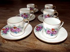 6-Singer-Limoges-Porcelain-Cup-and-Saucer-Hand-painted-1930-039-s-Art-deco-signed