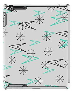 Gray Atomic Retro Fifties Patterns, iPad Case by Cherie Balowski Retro Decorating, Robot Cake, Palm Springs Style, Vintage Drawing, Wallpaper Designs, Space Age, Mid Century Modern Design, Vintage Fabrics, Abstract Wall Art