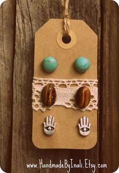3 pairs of post earrings in silver,Turquoise and Tiger eye Boho kids Boho earrings Studs earrings gift for her Hamsa earrings