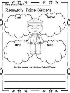 """Community Helpers """"Research"""" Writing Unit w/ Literacy+Math~Freebie in the download preview!  This is 178 pages!!!  12 different Community Helpers with TONS of writing templates!  Full of Cute Whimsy Clips clip art!"""