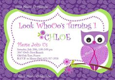 Bright Purple Paisley and Lime Green Pink Girl Owl Birthday Invites and Coordinating Party Decorations