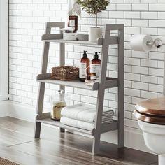 Inspect this out Bathroom Shelf Decor Bathroom Ladder Shelf, Ladder Shelf Decor, Bathroom Standing Shelf, Bathroom Shelving Unit, Ladder Shelves, Open Shelves, Bathroom Storage Solutions, Small Bathroom Storage, Small Bathroom Table
