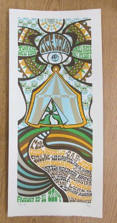Original silkscreen concert poster for moe.down featuring moe., Gogol Bordello, Lotus and many more in Turin, NY in 2014. It is printed on Watercolor Paper with Acrylic Inks and measures around 10 x 22 inches.  Print is signed and numbered out of only 40 as an artist edition by the artist Tripp.