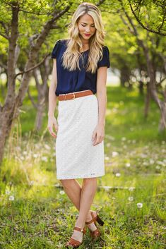 Lace Modest Pencil Skirt in White