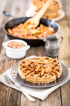 These vegan Pumpkin Waffles with Maple Cashew Cream make the perfect autumnal breakfast that the whole family will love.